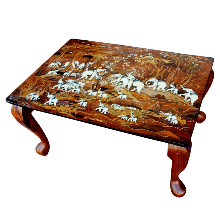 beautiful bone inlay coffee table with elephant images at