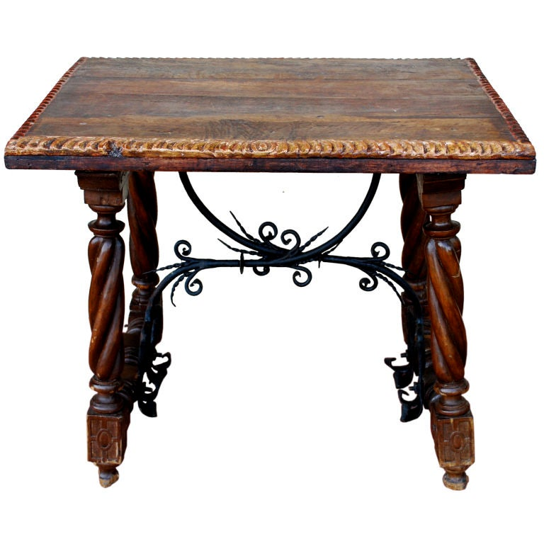 Spanish Side Coffee Table With Wrought Iron Stretcher At 1stdibs