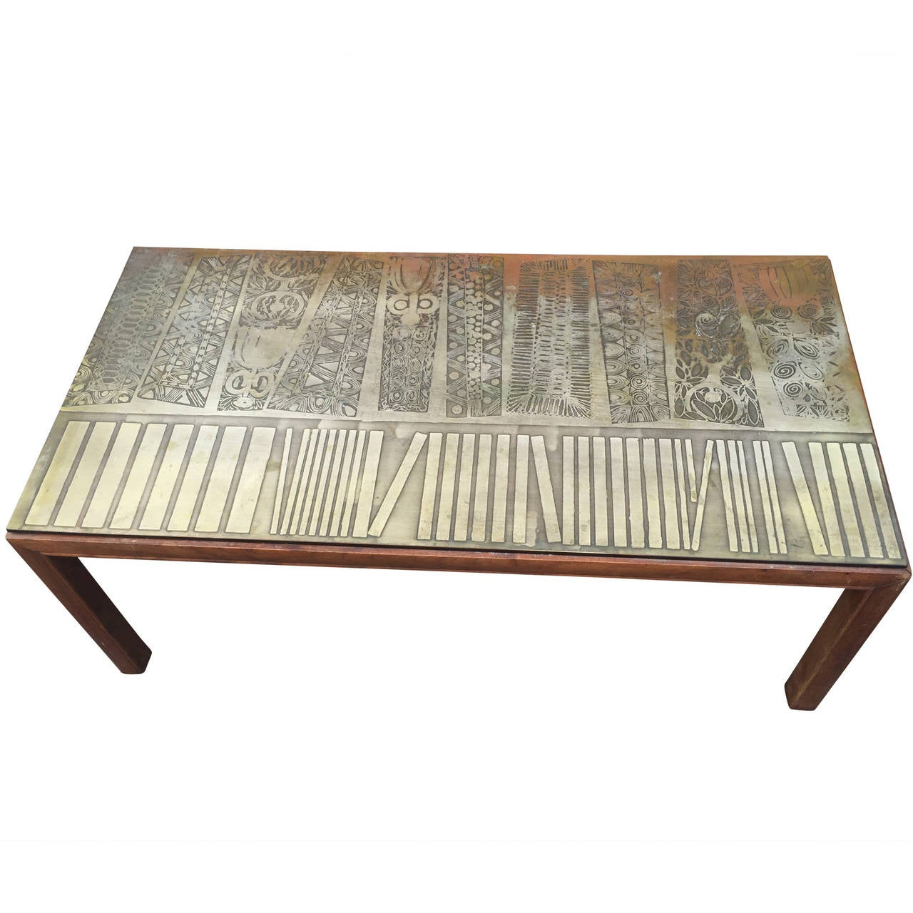Italian Modernist Coffee Table With Etched Metal Top At 1stdibs