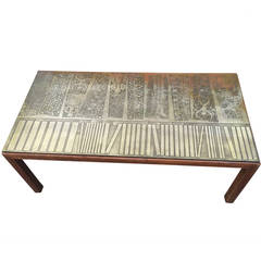 Italian Modernist Coffee Table with Etched Metal Top