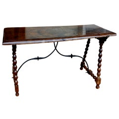 18th Century Spanish Walnut Table Sofa Console