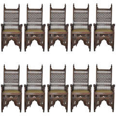 Set of Ten Moroccan Chairs with Custom Upholstery