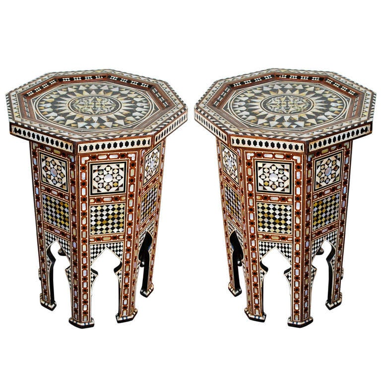 Beautiful pair of moroccan inlay side tables at 1stdibs Beautiful end tables