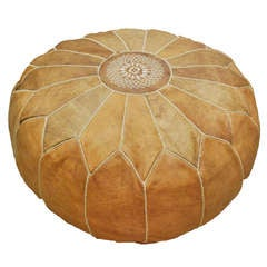 Large Leather Moroccan Pouf Ottoman