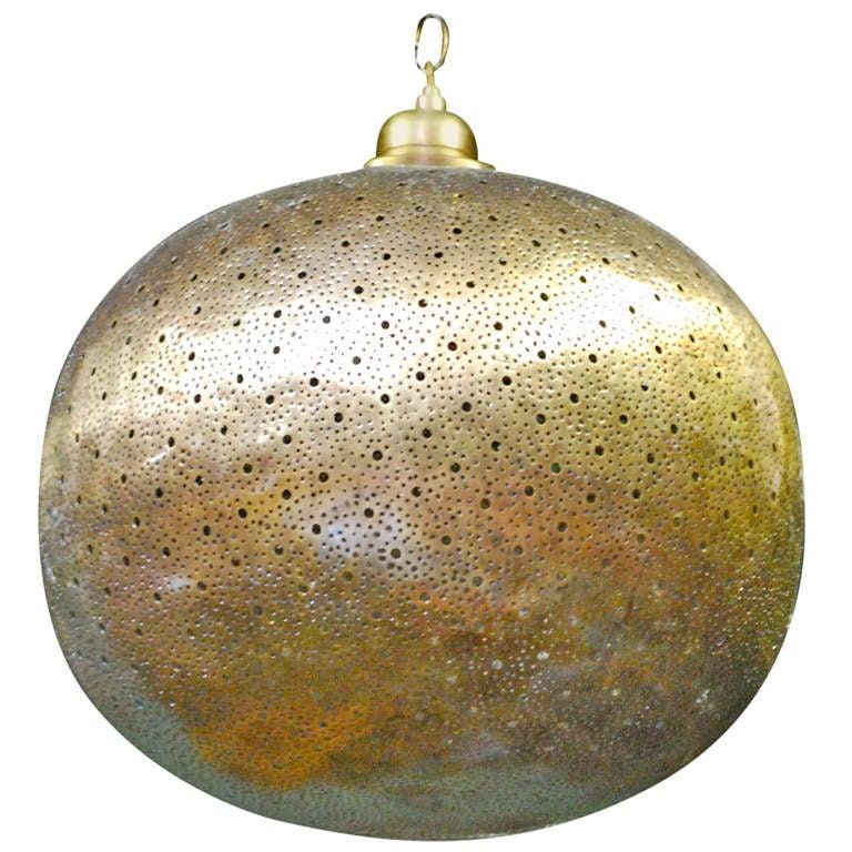 """Orb"" Round Moorish Brass Light Chandelier by Haskell Design For Sale"