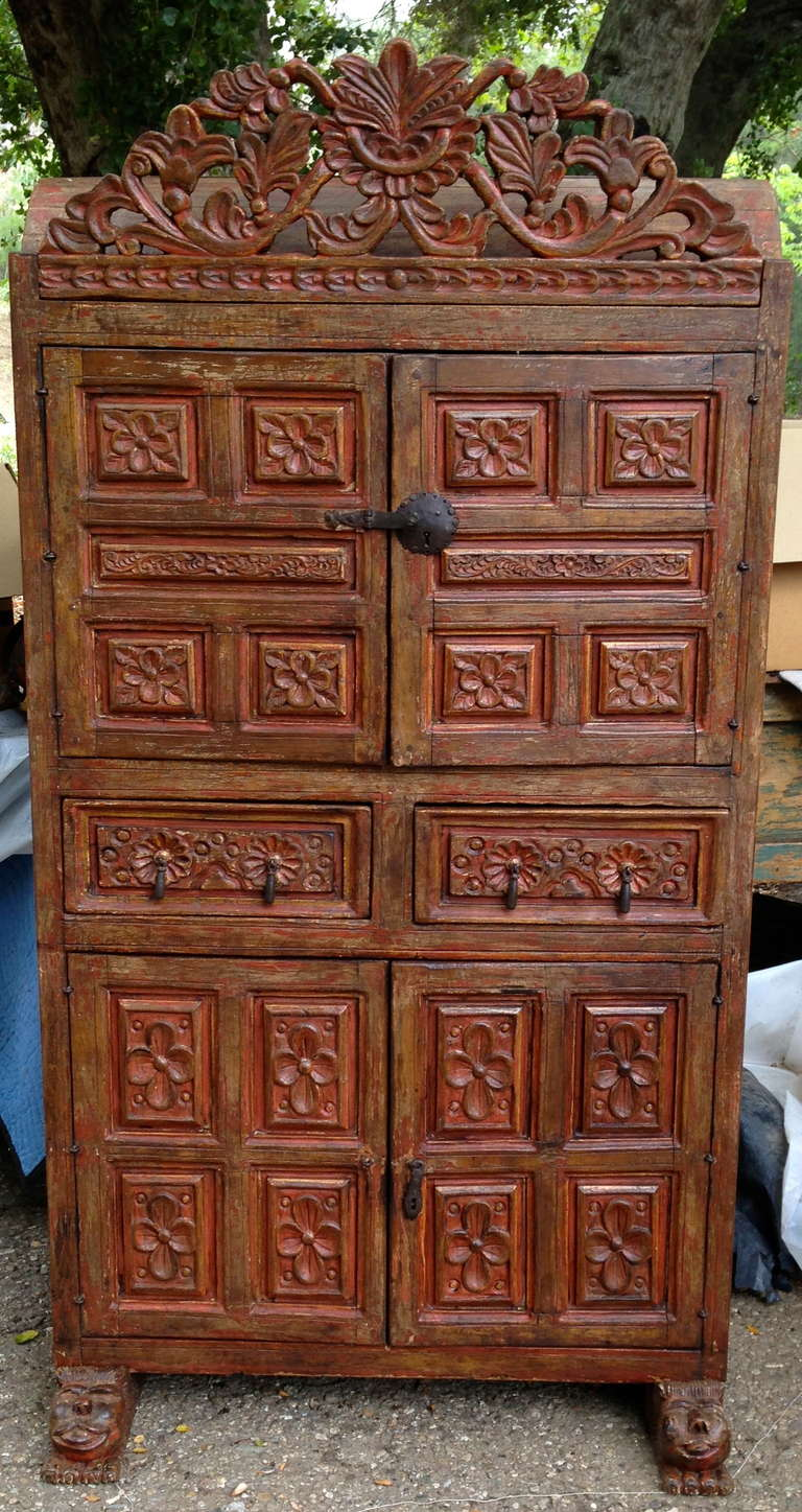 19th century spanish colonial armoire armario chest for. Black Bedroom Furniture Sets. Home Design Ideas