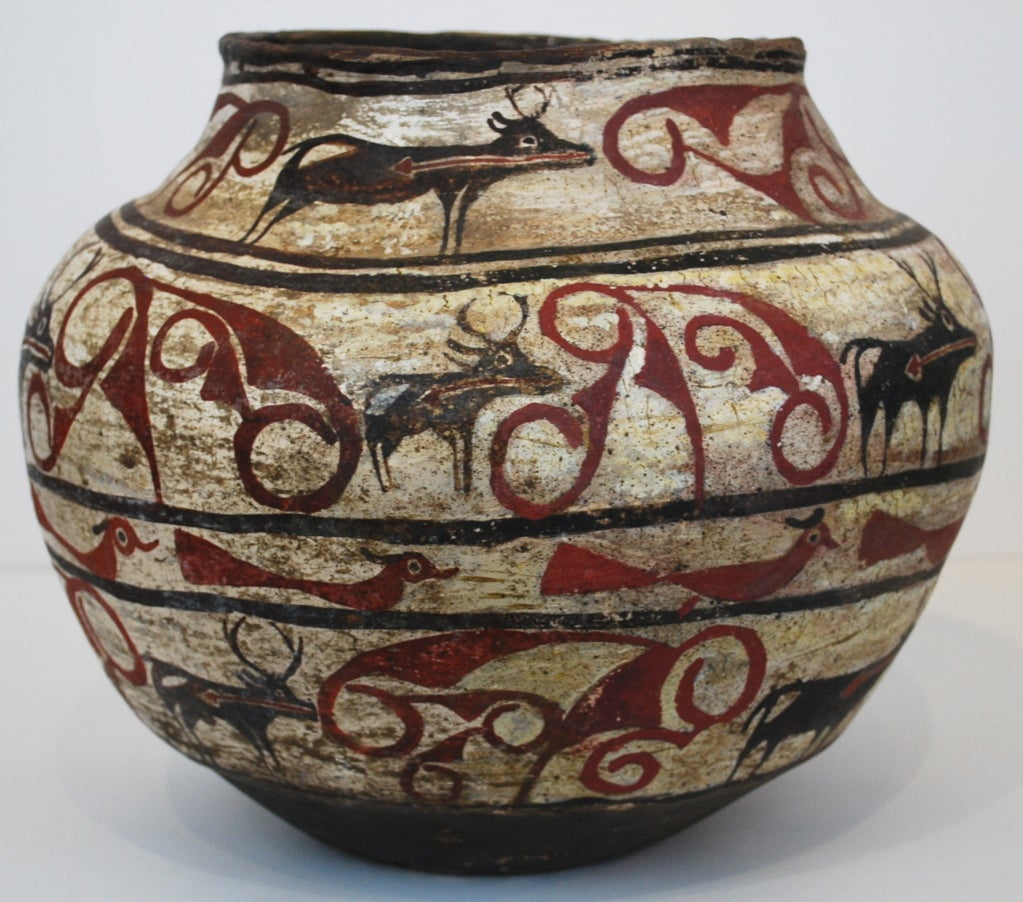 Zuni water jar deer w heartline design at 1stdibs for Native american furniture designs