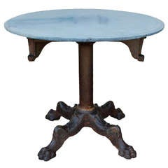 Beautiful Cast Iron Industrial Round Table with Stone Top