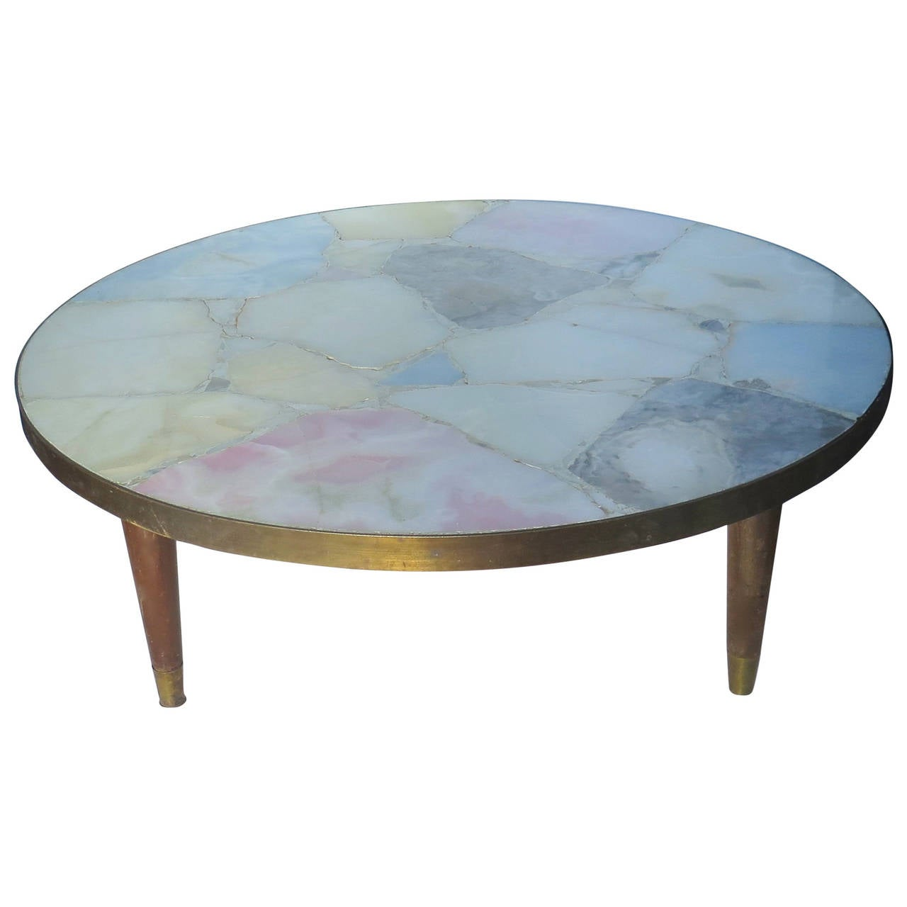 Stone brass modernist round coffee table attributed to arturo pani mexico at 1stdibs Brass round coffee table