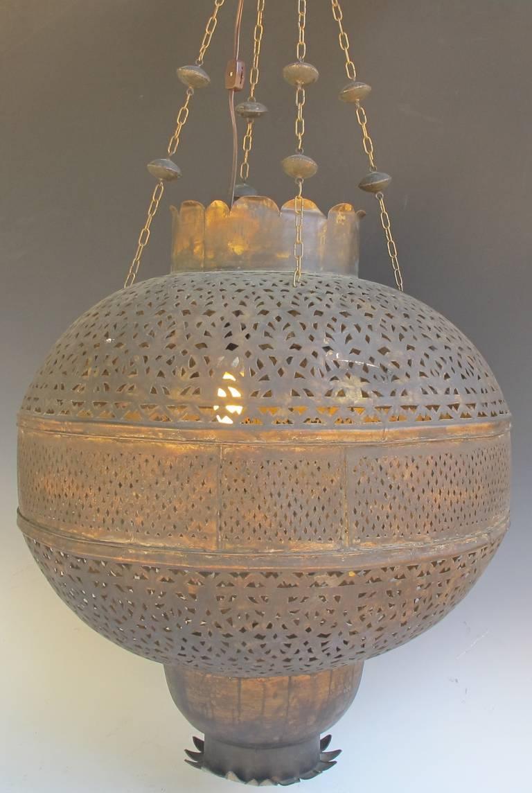 Beautiful Large Antique Moroccan Hanging Pierced Brass Lantern At 1stdibs