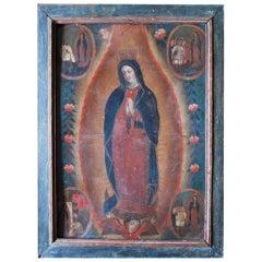 Virgin of Guadalupe Retablo Vignettes of Juan Diego Mexico