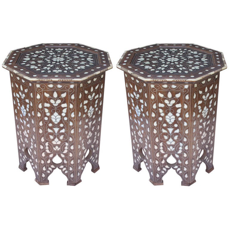 Beautiful Pair Of Antique, Syrian Or Moroccan Mother Of Pearl Side Tables 1
