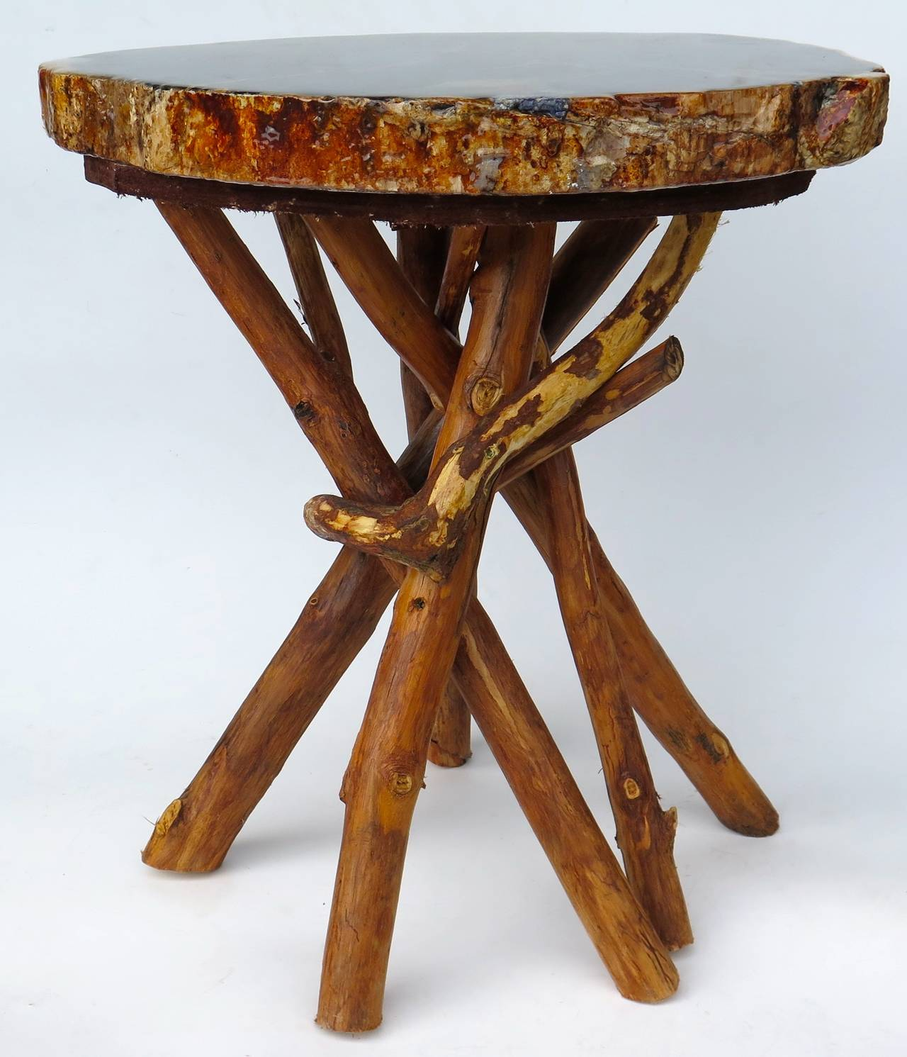 Petrified wood side table with branch base at stdibs
