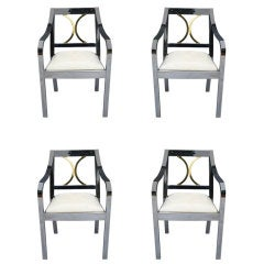 Stunning Set of (4) Karl Springer Regency Arm Chairs
