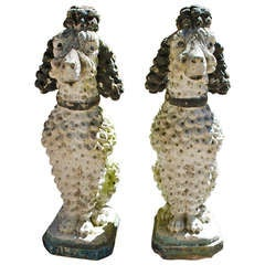 Great Pair of Early Poodle Sculptures for the Garden