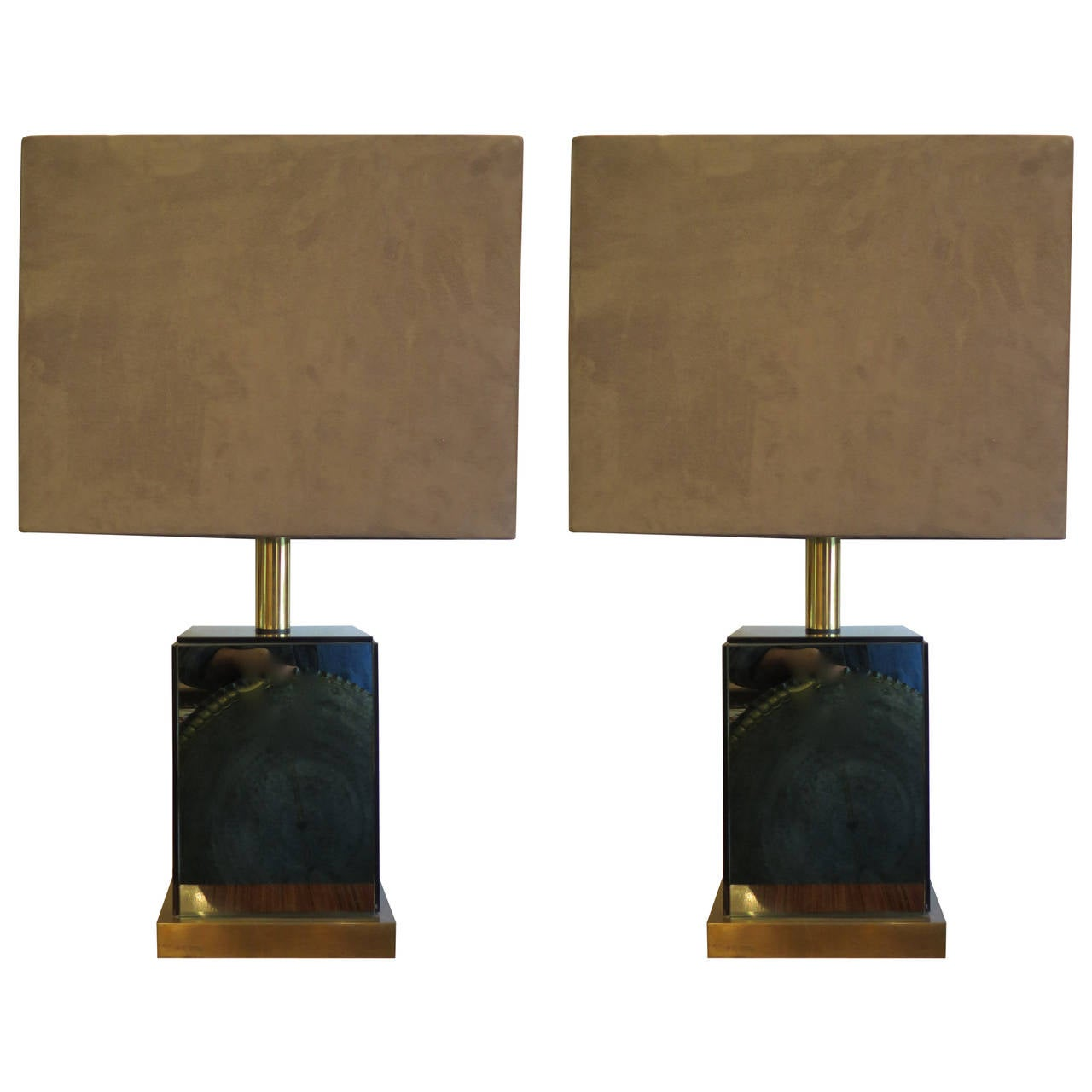 SATURDAY SALE Pair of Brass Modern Table Lamps by Italian