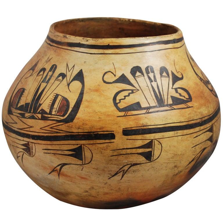 Very Old Hopi Polychrome Water Jar Olla At 1stdibs