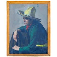 1930's Oil on Canvas of Seated Male, Mexico