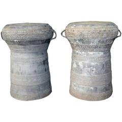 Beautiful Pair of 19th Century Southeast Asian Bronze Rain Drum Tables