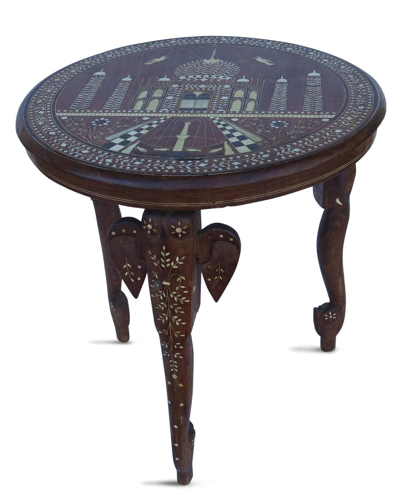19th Century Anglo Indian Elephant Leg Side Table 3