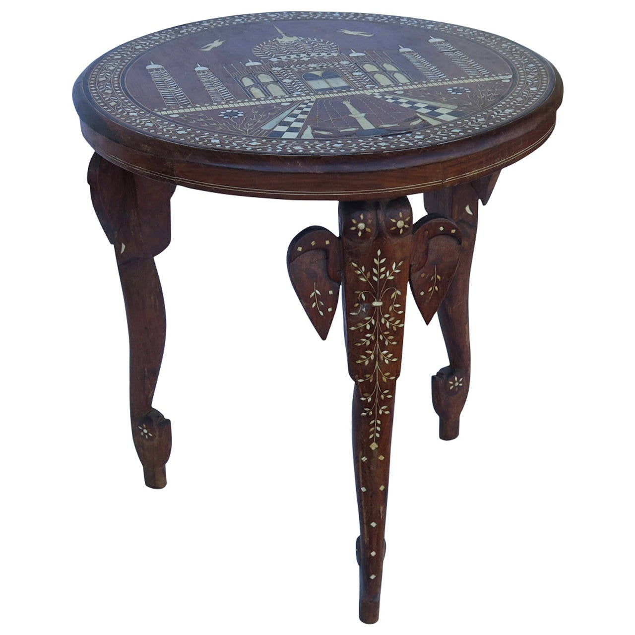 Perfect 19th Century Anglo Indian Elephant Leg Side Table 1