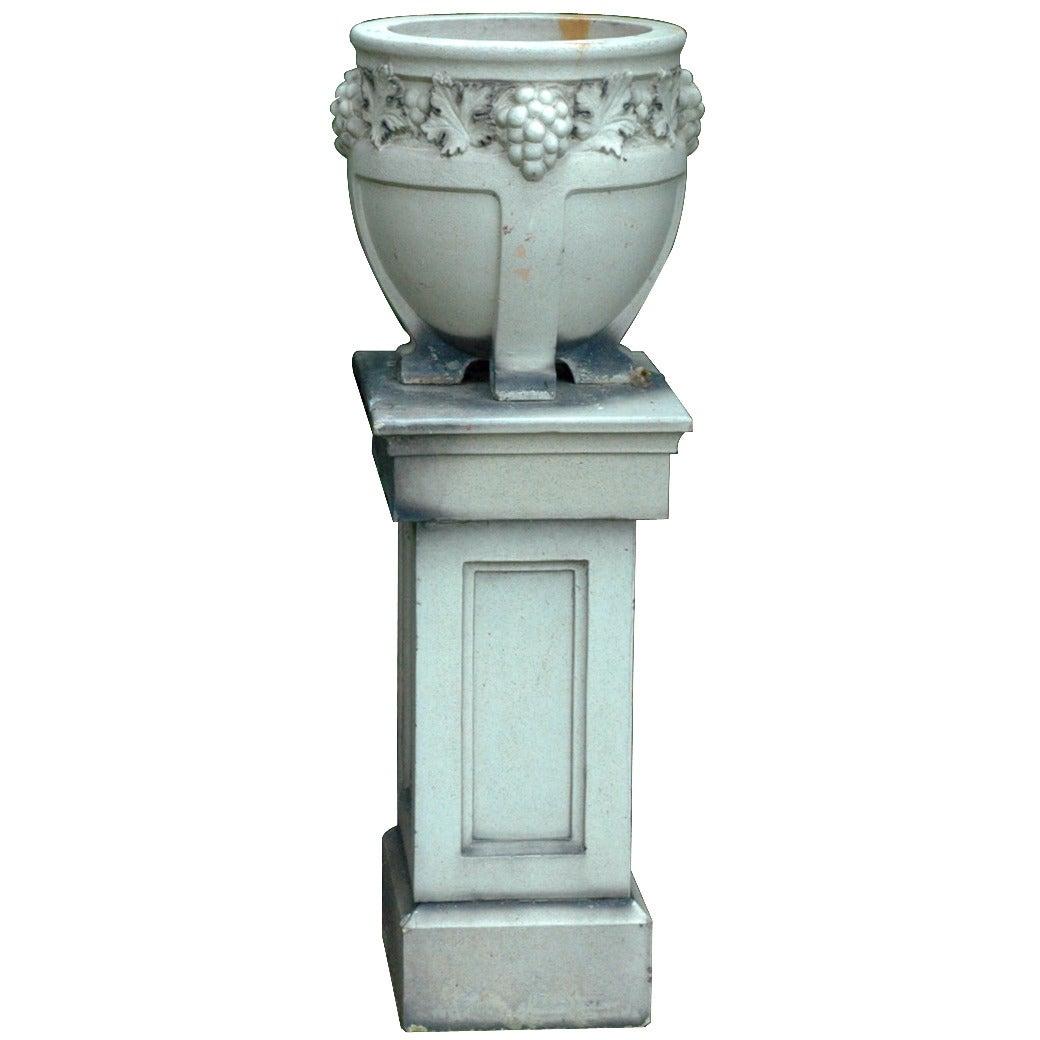 English Stoneware Urn and Pedestal