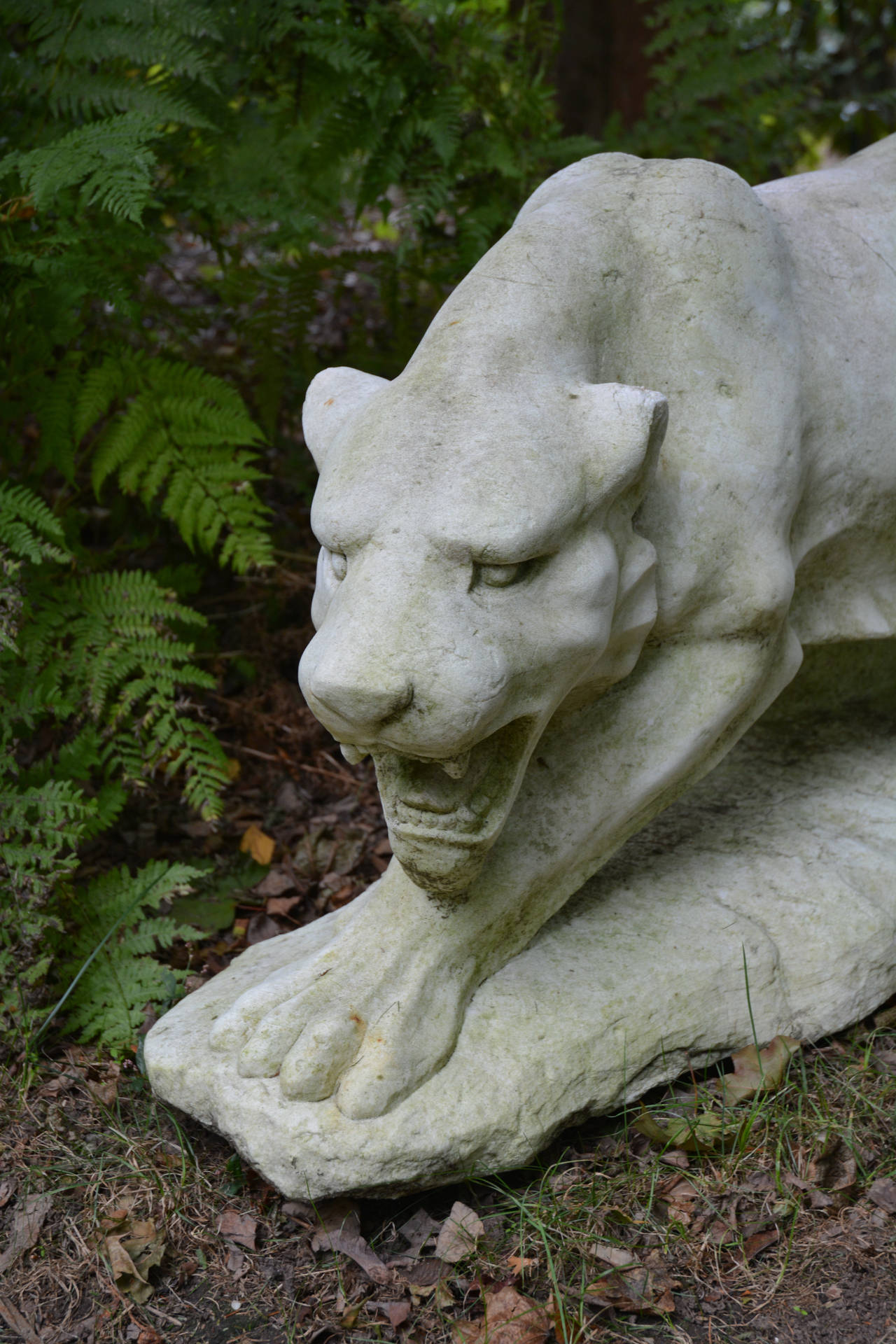 19th Century Sculpture of Stalking Tiger in Marble For Sale