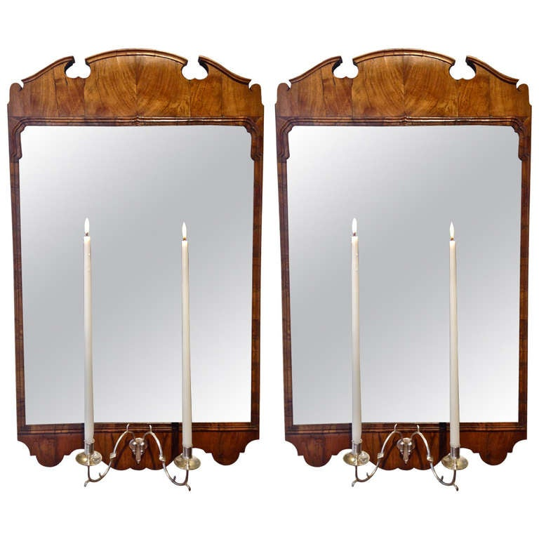 Pair of Early Georgian Walnut Mirrors with Candle Sconces at 1stdibs