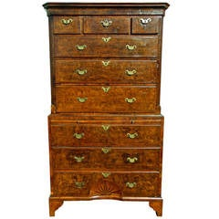 Period George II Burl Walnut Pinwheel or Sunburst Chest on Chest