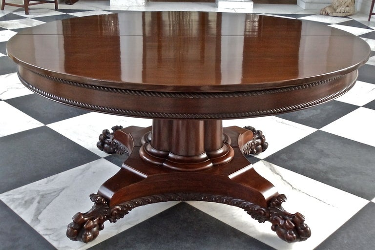 Century American Neoclassical Round Expanding Dining Table Image 2