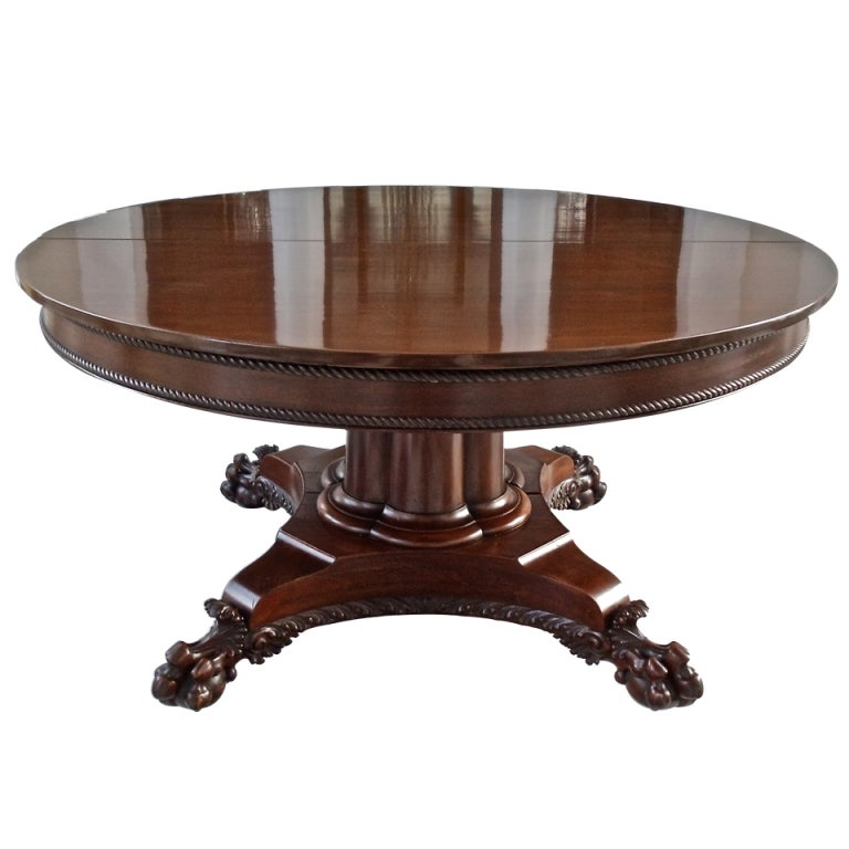 19th Century American Neoclassical Round Expanding Dining Table 1
