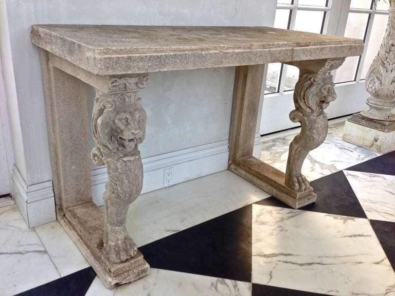 Pair Of 19th Century Cast Stone Monopod Lion Console Tables 2