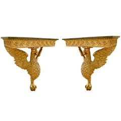 Pair of Period George II Eagle Console Tables in Manner of William Kent