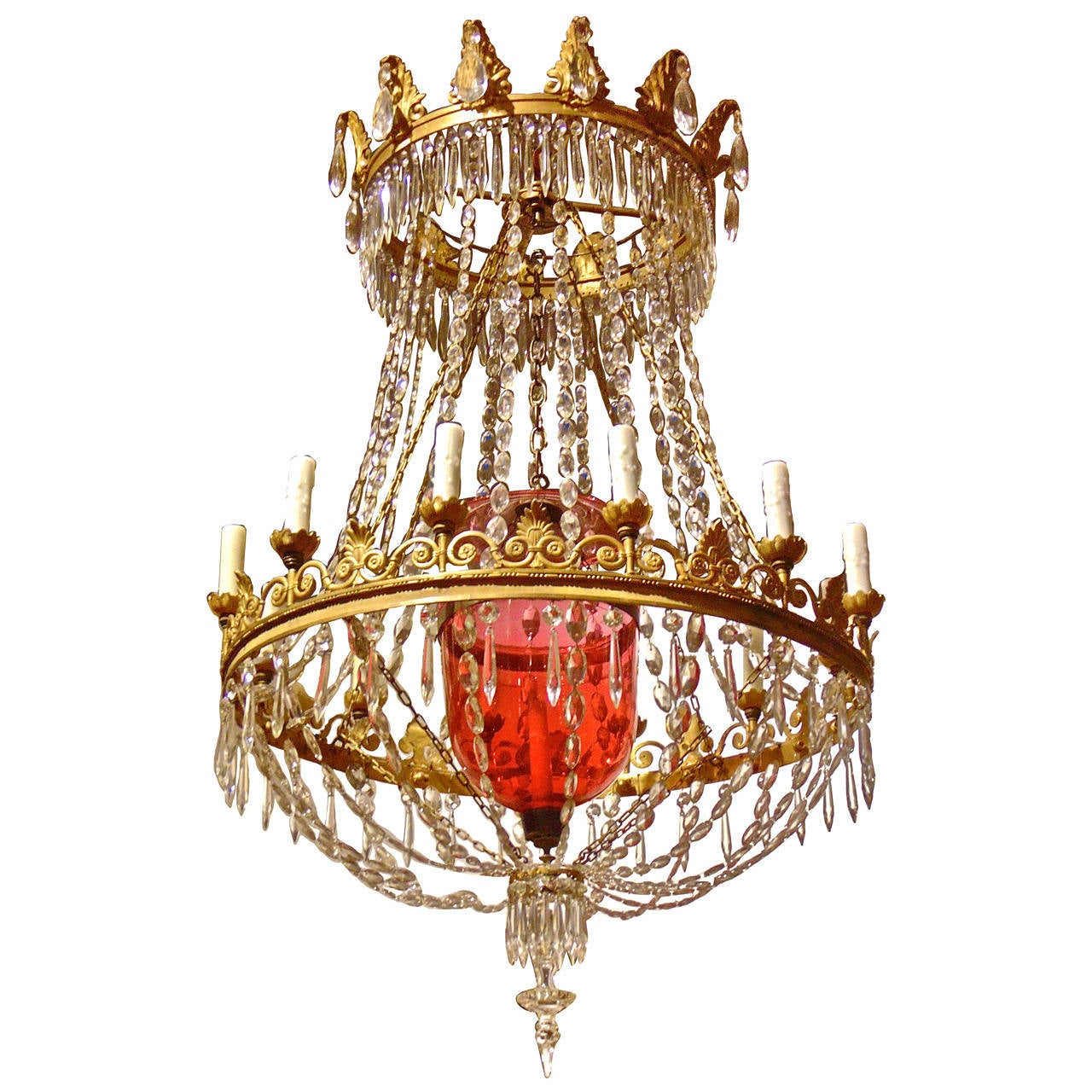 Russian Neoclassical Chandelier with a Cranberry Glass Internal ...