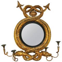 Rare Nautical Sea Serpent Giltwood Convex Mirror Girandole