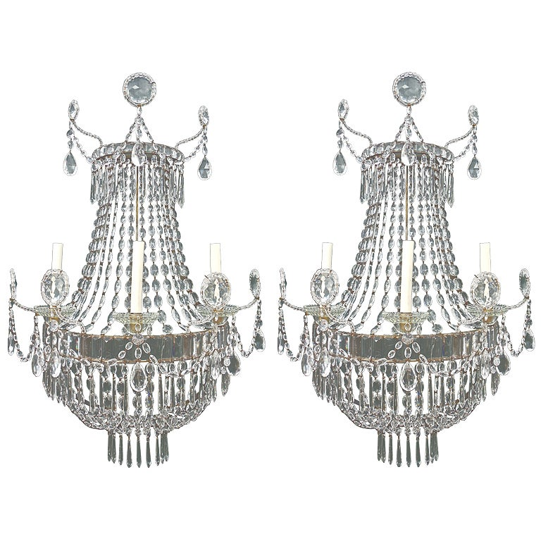 Pair Of 19th Century Swedish Gustavian Three Arm Wall Sconces