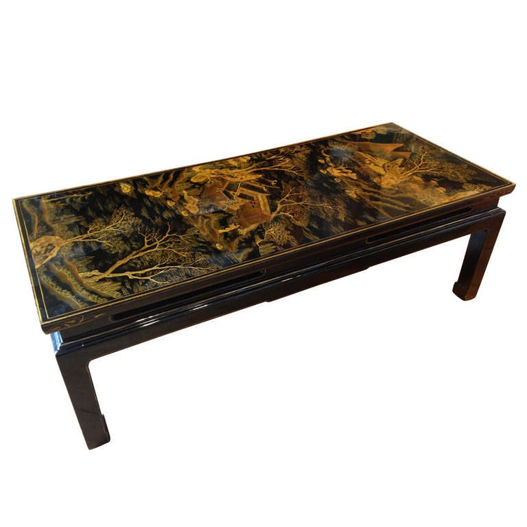 Chinese Black Lacquer Coffee Table Made From A Period Screen Panel At 1stdibs