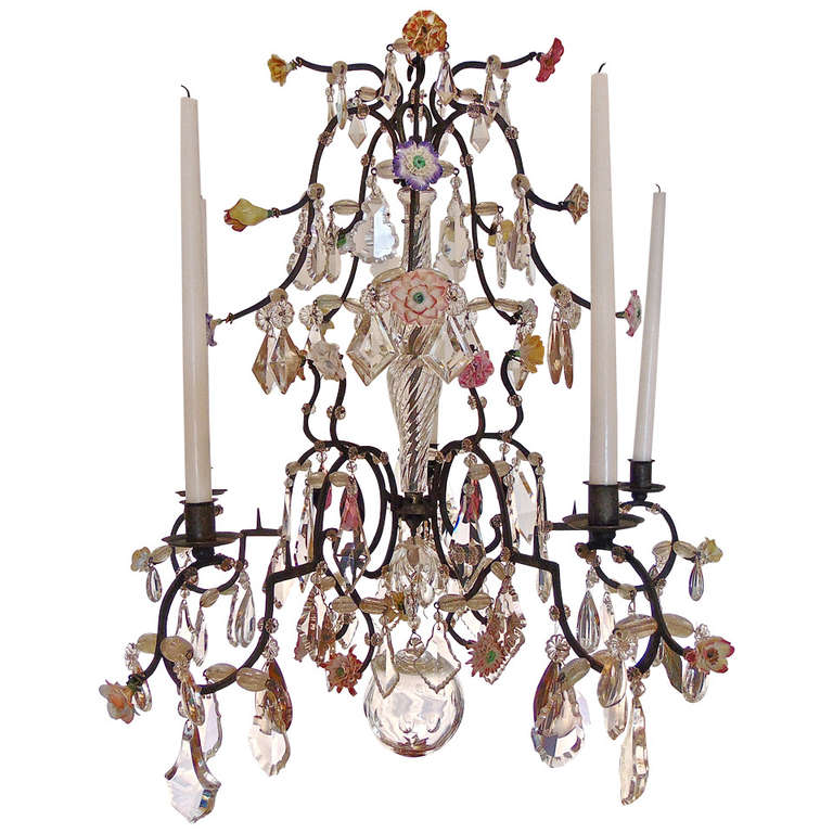 Paris Porcelain Art Nouveau Period Lamp Chinese Taste: 18th Century Five Light French Provincial Chandelier With