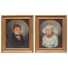 Pair of Period French Provincial Directoire Portraits, Late 18th Century
