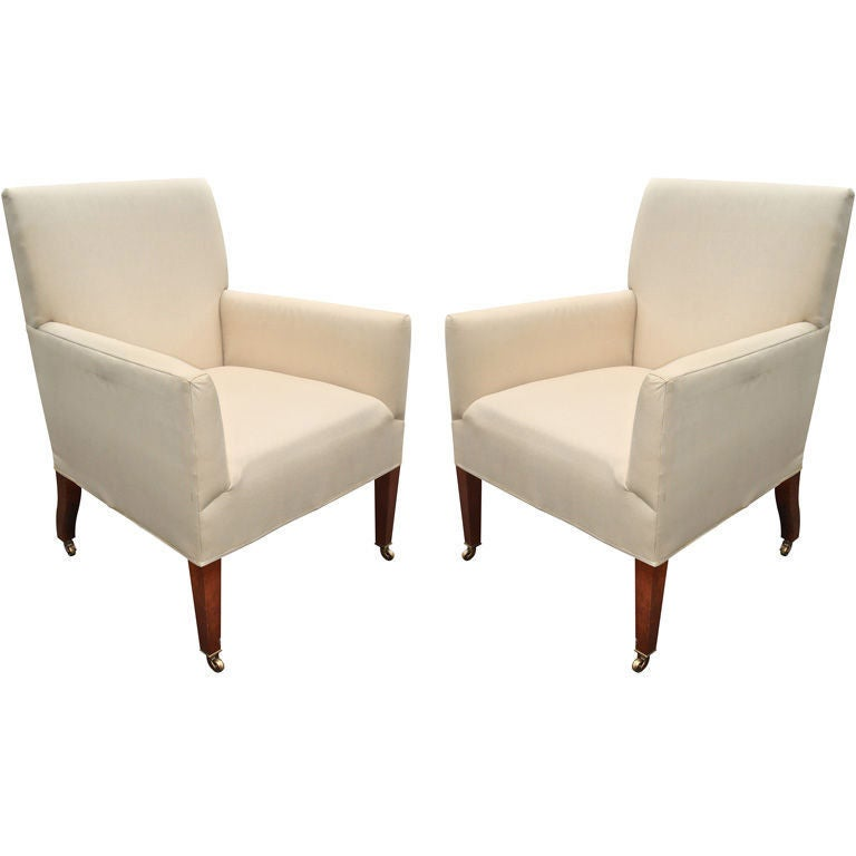 Pair of georgian style living room chairs at 1stdibs for Pair of chairs for living room
