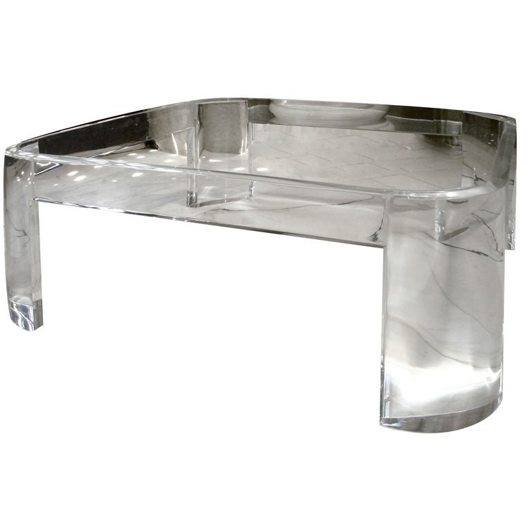 Stylish Acrylic And Glass Coffee Table Luna By Les Prismatiques At 1stdibs