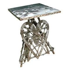 American Folk Art Rustic Heart Inspired Table