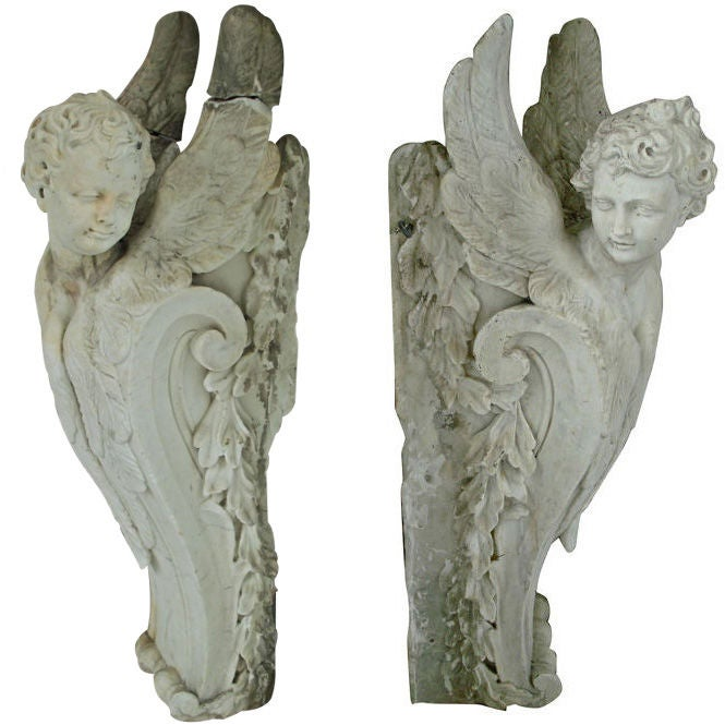 Pair of Massive Period Baroque Marble Corbels