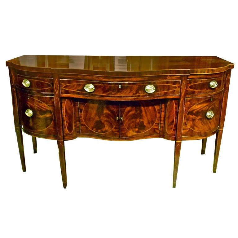 New york federal period american mahogany inlaid sideboard for Sideboard york