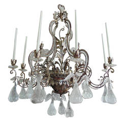 Large Silvered Iron and Rock Crystal, Eight-Arm Chandelier, Manner of Bagues