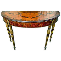 Rare and Exquisite Adam Period Satinwood and Gilt Demi-lune Irish Console Table