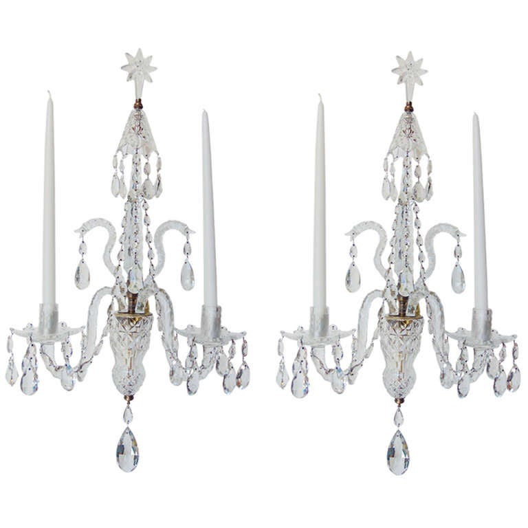 pair of late 19th century irish georgian crystal sconces