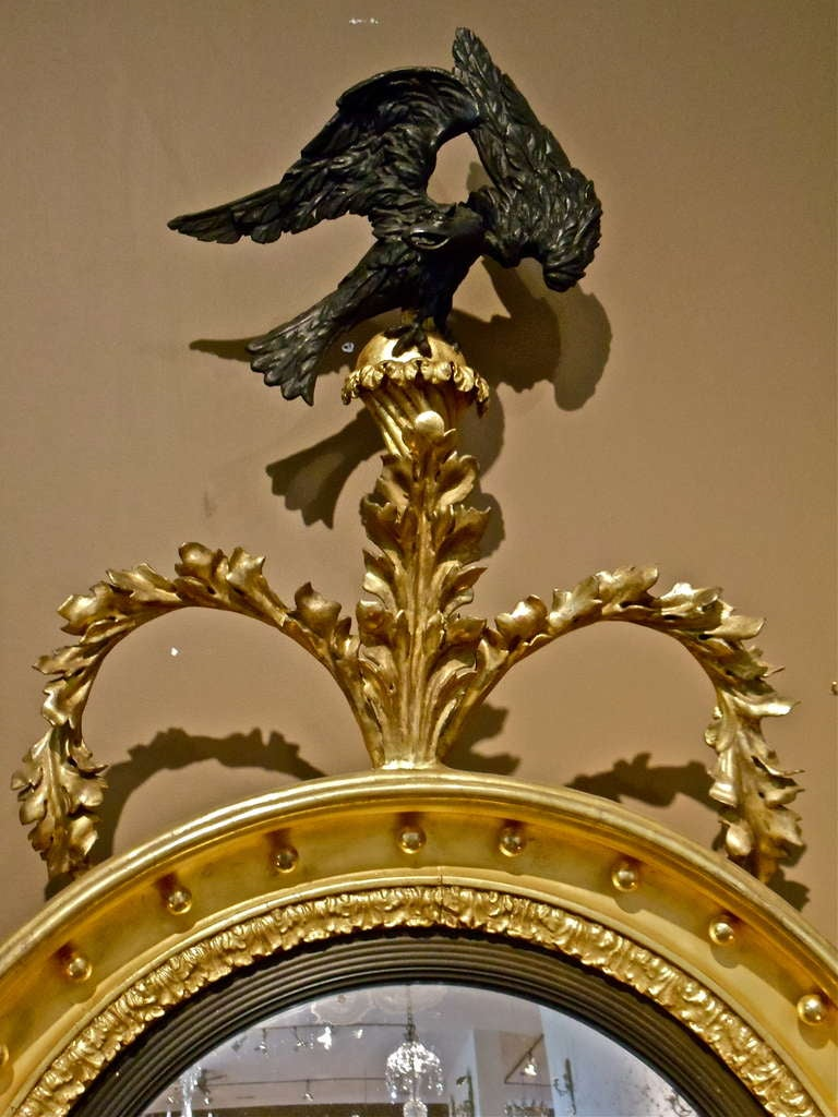 Rare Pair Of English Regency Convex Mirrors With Eagle