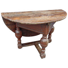 Period 17th Century Dutch Oak Drop-leaf Table in Original Surface