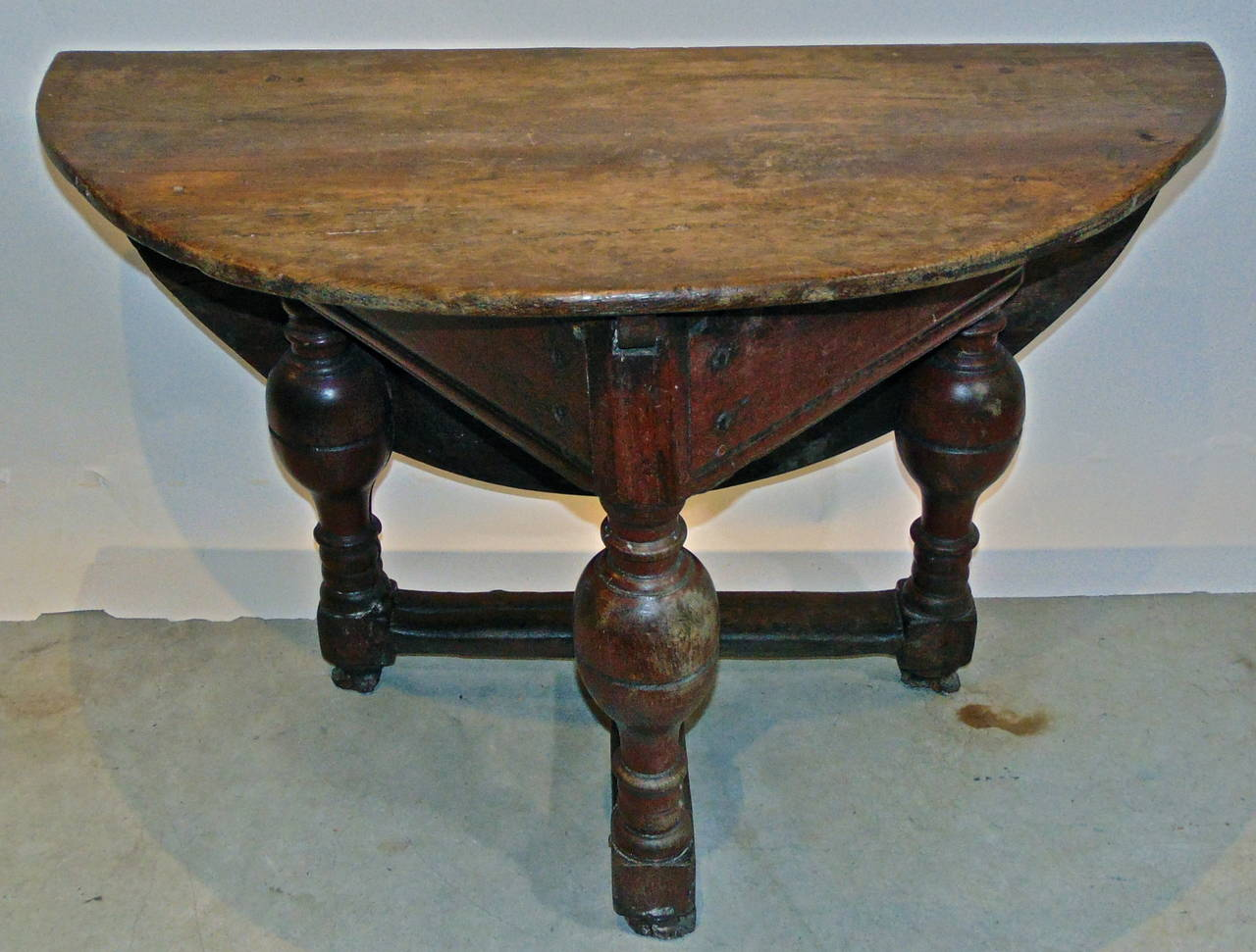 Period Flemish Drop Leaf Triangular Table. Baluster Legs And Stretchers  Open To Support An